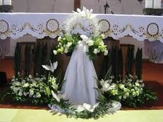 관련 이미지 Church Wedding Flowers, Altar Flowers, Church Altar Decorations, Outdoor Wedding Decorations, Condolence Flowers, White Flower Arrangements, Communion, Bouquet, Large Flower Arrangements