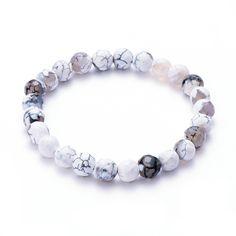 "POSHFEEL Gem-stone Beaded Stretch Bracelet 8mm Polyhedron Agate Beads, 7.5"" White"