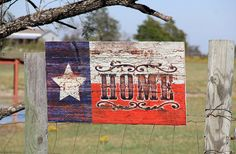 "Made to order 36x20 Reclaimed Wood Texas State Flag ""HOME"" Rustic Sign or with your name or word of chioce"