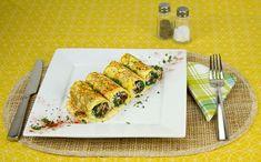 Spinach and Mushroom Stuffed Crepes / @DJ Foodie / DJFoodie.com