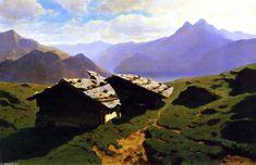 Chalets à Rigi, huile sur toile de Alexandre Calame (1810-1864, Switzerland)