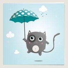 Kitten in the blue rain Art And Illustration, Illustrations, Kawaii Crafts, Blue Rain, Retro Ads, Amazing Drawings, Baby Cards, Nursery Wall Art, Creative Art