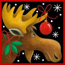 Christmas Moose by Stephanie Stouffer Christmas Moose, Christmas Canvas, Christmas Paintings, Christmas Animals, Christmas Signs, Christmas Pictures, Winter Christmas, Vintage Christmas, Christmas Decorations