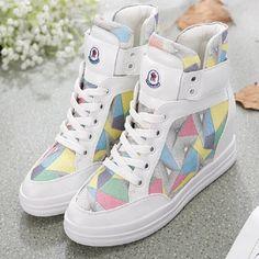 Women Girls Multi Color Casual Height Increasing Shoes Women Boots High Top Flat Platform Shoes Zapatillas Deportivas