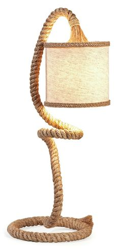 IMAX Binnacle Rope Table Lamp - Whether a coastal or a rustic influence, this rope table lamp features a linen flared drum shade and has a load of personality for any space! Nautical Lamps, Nautical Table, Nautical Rope, Rope Lamp, Lamp Cord, Beach Living Room, Arc Lamp, Contemporary Table Lamps, Unique Lamps