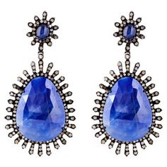 Check out this item at One Kings Lane! Diamond & Sapphire Spikes Earrings
