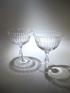 Antique Crystal Champagne Glasses  Etched Coupes by HazelRoberts