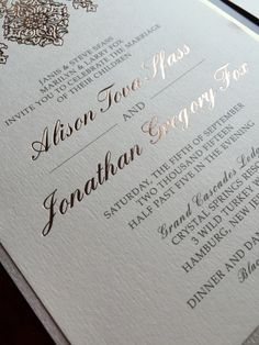 elegant pressed rose gold foil wedding invitation suite by brown fox creative