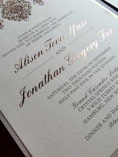 elegant pressed rose gold foil wedding invitation suite by brown fox creative