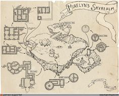 """This week is a series of posts about Mirelyn's Skyrealm – a map I drew at the beginning of December as part of a cartographic challenge. The challenge was to draw a map of a """"floating island"""" and t…"""