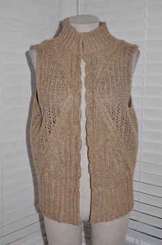 58fc652bd3df0 J.JILL Women s sz M Beige Knit Open Front Sleeveless Cardigan Sweater Vest   fashion