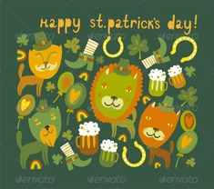 Cute St.Patrick's Day Background with Cats