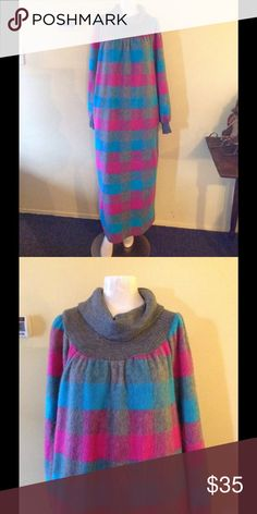 """Vintage Plaid Check Fluffy Fleece Long Nightgown Cozy vintage nightgown! Blue, gray, and pink check pattern. Fluffy fleece with a cowl neck and size pockets. Sure to keep you warm on chilly nights. No size but fits up to an XL. Chest 49"""" Hips 52"""" Length 53"""" Great condition! Vintage Intimates & Sleepwear"""
