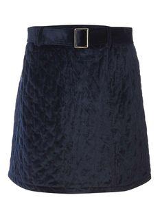 Womens Navy Quilted Belt Mini Skirt- Navy