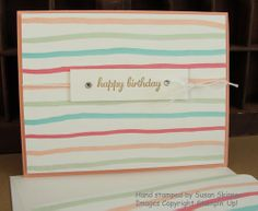 Here's a cute CASE of a Happy Birthday card featured in the Stampin' Up! Sale-A-Bration 2014 brochure that uses 2013-2015 In Color markers to create fun stripes.