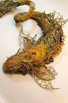 over the falls and into the sky II - - Ellen Jewett - OOAK golden koi dragon surrealist sculpture - mythology, lattice, delicate, spirit -