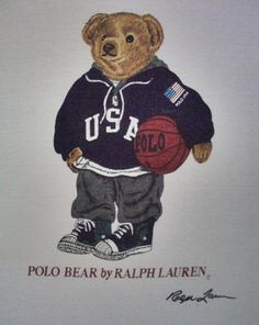 ORIGINAL VINTAGE 90'S MADE IN USA POLO BEAR BASKETBALL BY RALPH LAUREN