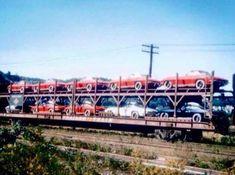 Vintage Trucks Delivering Seven generations of Corvette dreams… Corvette C2, Chevrolet Corvette, Corvette History, Automobile, Car Carrier, Railroad Photography, Rail Car, Transporter, Us Cars