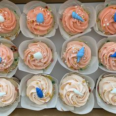 Wait until you see the cake that goes with these cupcakes!!    #cupcakes #buttercream #fondant #babyshark #seashells #sprinkles #cupcakedecorator #decoratedcupcakes #yum #desmoines #desmoinesiowa #birthday #birthdaycupcakes #thesweetestthing