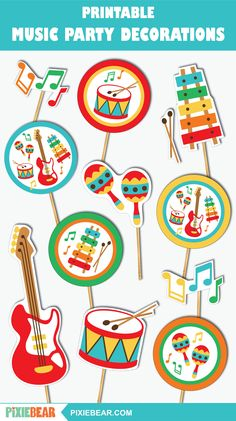 Music Theme Birthday, Hockey Birthday, Music Themed Parties, Music Party Decorations, Birthday Party Decorations, Party Themes, Valentine's Cards For Kids, Bear Party, Music For Kids