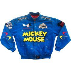 Daytona 500 Mickey Mouse x JH Design Bomber Jacket ($160) ❤ liked on Polyvore featuring outerwear, jackets, blue, flight jacket, distressed jacket, star jacket, button jacket and bomber jacket