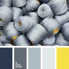 In Color Balance - Color Palette Colour Pallette, Colour Schemes, Color Patterns, Color Combos, Paint Combinations, Silver Color Palette, Pantone Azul, Stoff Design, Grey Yellow
