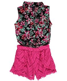 Limited Too Big Girls' Hawaiian Printed Sleeveless Blouse with Lace Short Romper, Multi, 2T