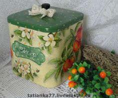 """Купить Короб для сахара """"Яблочный"""" - Декупаж, короб, для кухни, сахар, яблоневый цвет, яблоки, бежевый"""