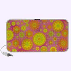Yellow Orange & Pink Hippy Flower Pattern Iphone Music Speakers $44.95