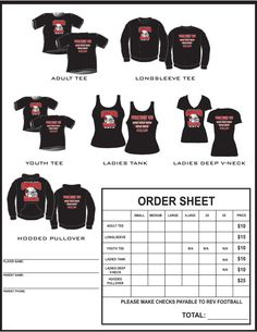 Example T Shirt Order Form