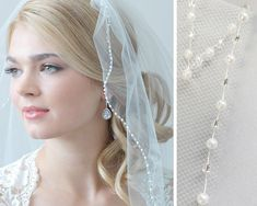 Pearl Bridal Veil, Beaded Wedding Veil, 1 Layer Veil, Ivory Veil, White Veil…