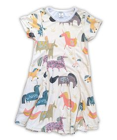 Look at this #zulilyfind! Cream & Blue Unicorns Sublimated Swing Dress - Toddler & Girls #zulilyfinds