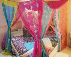 Bed Canopy queen Boho Curtains Gypsy Bedroom Hippiewild MADE to Order sequin silk embroidered canopy queen bed hippie decor bohemian