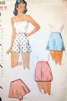 1940s SIMPLICITY 4468 PATTERN  TAP PANTIES BLOOMERS WAR TIME UNDERWEAR PIN UP LINGERIE