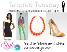 Combine bold black and white separates with colorful accessories for an exciting work look. Layer a mod Chaps Colorblock Ponte Sheath Dress with the textured Spence Jacket and accessorize with a bright Orange Gumball Bead Necklace. Finish with matching Giorgio Armani Bicolor Leather Pumps. StyleSetGo.com/blog/tailored-tuesday