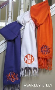 Monogrammed scarves - i want one!!