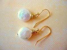 Pearl Earrings, Simple Pearl Drops with Gold Earwire, Bridesmaids Jewelry, Bridal Jewelry