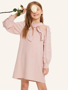 To find out about the Girls Mesh Insert Pompom Detail Dress at SHEIN, part of our latest Girls Dresses ready to shop online today! Moda Junior, Cheap Dresses, Nice Dresses, Fashion News, Kids Fashion, Girls Dresses Online, Pastel Fashion, Bishop Sleeve, Collar Dress