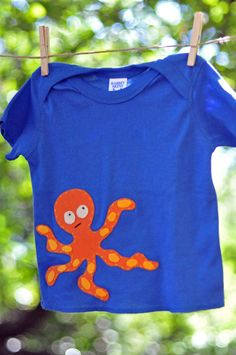 Octopus Royal Blue Tshirt (18M) - Short Sleeve Baby Boy Shirt - Orange Handstitched Felt Applique - Baby or Toddler. $23.00, via Etsy.