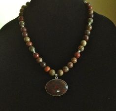 Beautiful Red and Green Jasper Beaded Necklace by FatHeadDesigns, $35.00