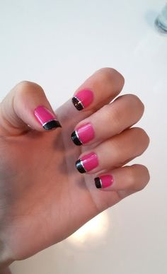 While nail polish is drying: Pink sparkly black