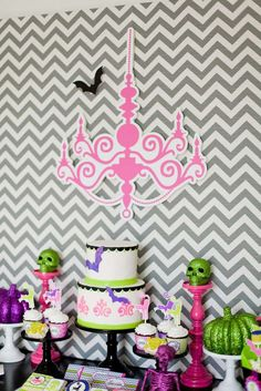 Dessert table at a glam Halloween party! See more party planning ideas at CatchMyParty.com!