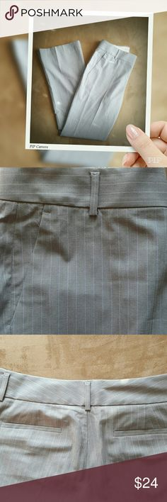 Banana Republic Pinstripe Pants EUC gray pants with blue pinstripe. Inner hooks and button for front closure.  All pockets still stitched.  Waist 31 Rise 10 Inseam 33 Sorry was absolutely lazy and did not iron these pants before taking pictures. Chico's Pants Trousers