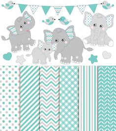 70% OFF SALE Baby Elephant Clipart & Digital Paper