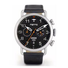 Ferro Airborne Titanium Pilot Watch (Hybrid Mechaquartz Movement) Black Face / Black Strap
