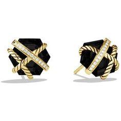David Yurman Cable Wrap Earrings with Black Onyx