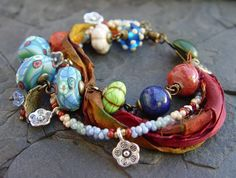 Handmade Clay Beads, Sari Silk, Glass Bead Bracelet on Brass