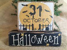 Primitive Country Moon Bats October 31 Halloween Shelf Sitter Wood Block Set #PrimtiveCountry