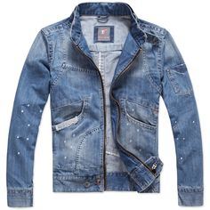 Mens Denim Jacket Denim Casual Long Sleeve Zipper Men Jacket Discount Online Shopping
