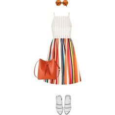 How To Wear Orange Stripes Outfit Idea 2017 - Fashion Trends Ready To Wear For Plus Size, Curvy Women Over 20, 30, 40, 50